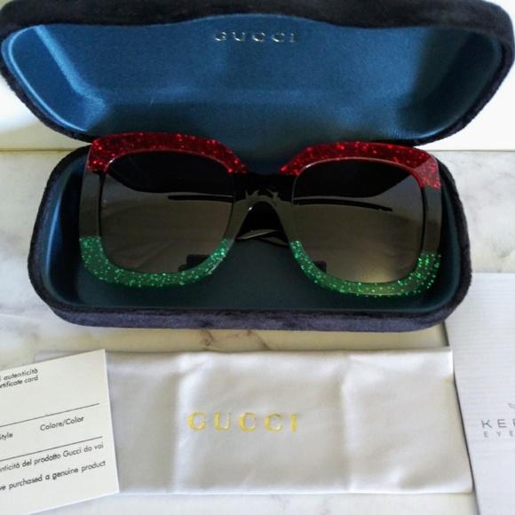 7286d985624 GUCCI Large square Sunglasses Glitter Red   Black